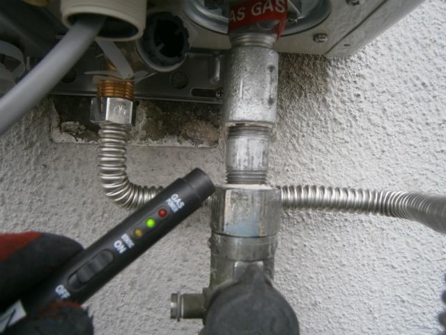 ガス給湯器取替工事 ガス漏れチェック