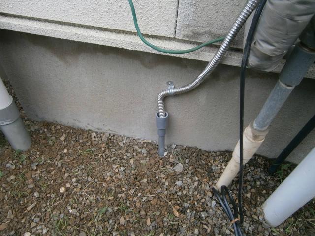 ガス給湯器取替工事 ドレン配管施工後