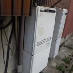 名古屋市中川区 給湯器の施工前は壁掛け+据置台でした。