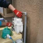 ガス管延長工事前 江南市 ガス給湯器取付工事(ガス給湯専用)ガス管延長中