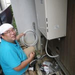 ガスふろ給湯器取替え工事 施工中