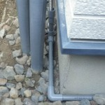 排水ドレン管施工中